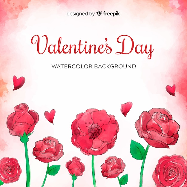 L'acquerello fiorisce il fondo di san valentino Vettore gratuito