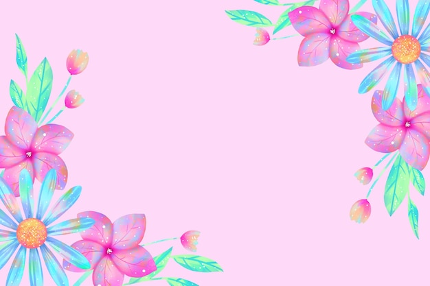 L'acquerello fiorisce la carta da parati nel concetto di colori pastelli Vettore gratuito