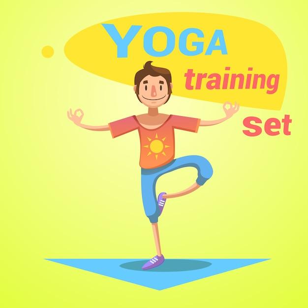 L'addestramento di yoga ha messo con l'illustrazione di vettore del fumetto di simboli di felicità e di salute Vettore gratuito
