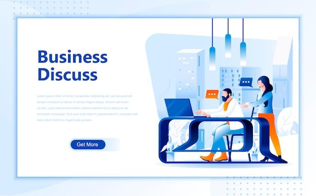 L'affare discute il modello piatto della pagina di destinazione della homepage Vettore Premium