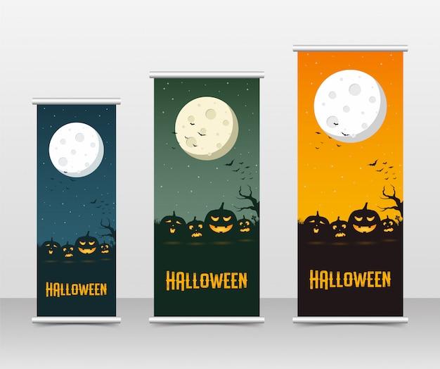 L'affare felice di halloween rotola sull'insieme del modello Vettore Premium