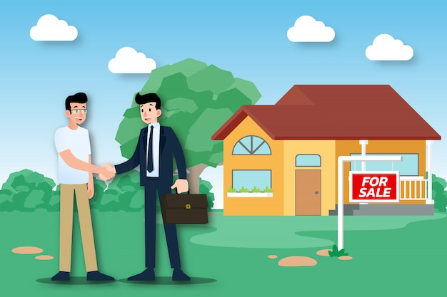L'agente immobiliare vende una casa di successo. Vettore Premium