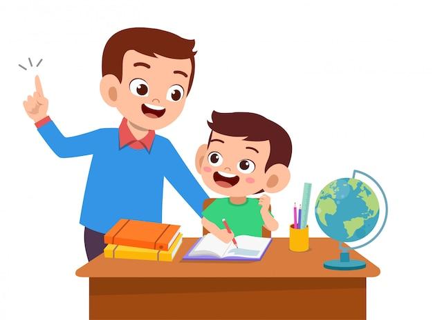 L'aiuto dei genitori insegna al bambino Vettore Premium