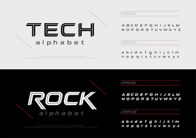 L'alfabeto di tecnologia sportiva segna l'insieme della fonte delle lettere. Vettore Premium