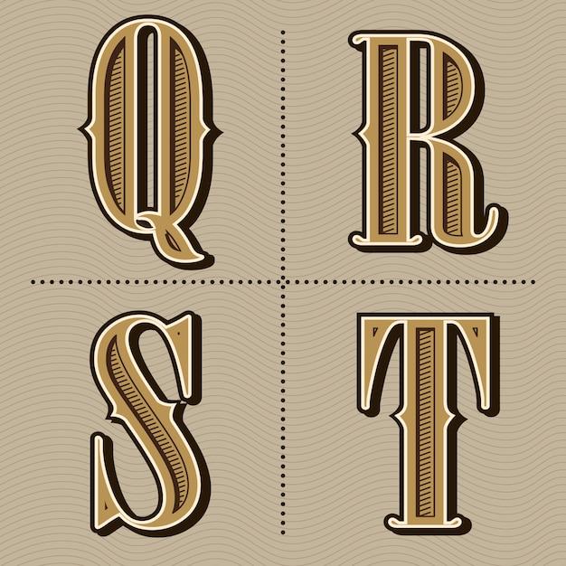 L'alfabeto occidentale segna il vettore d'annata di progettazione delle lettere Vettore Premium