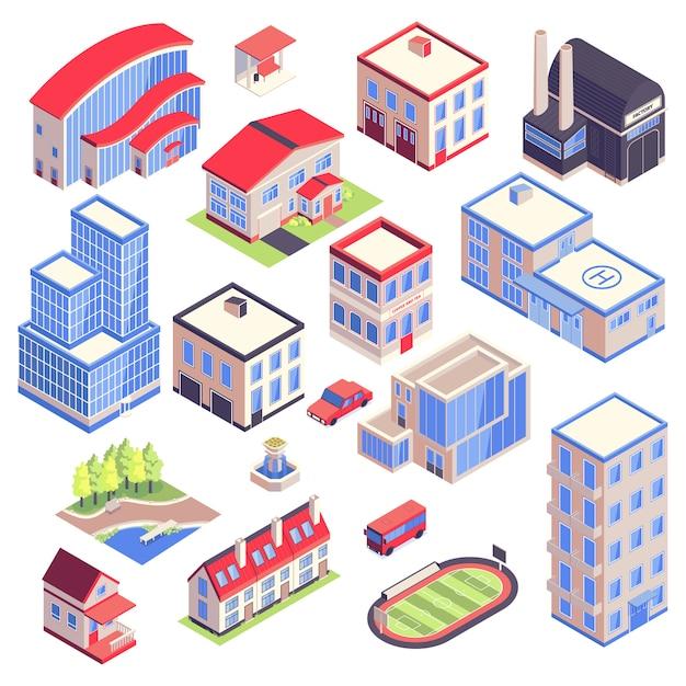 L'ambiente isometrico dell'architettura del trasporto urbano delle icone ha messo con le immagini isolate delle costruzioni moderne della città con l'illustrazione di vettore di diverse funzioni Vettore gratuito