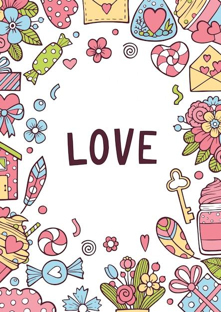 L'amore biglietto di s. valentino o carta di nozze invita sfondo. Vettore Premium