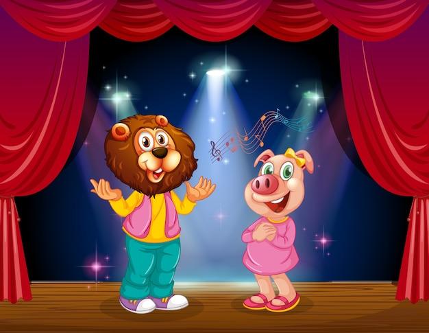 L'animale si esibisce sul palco Vettore gratuito