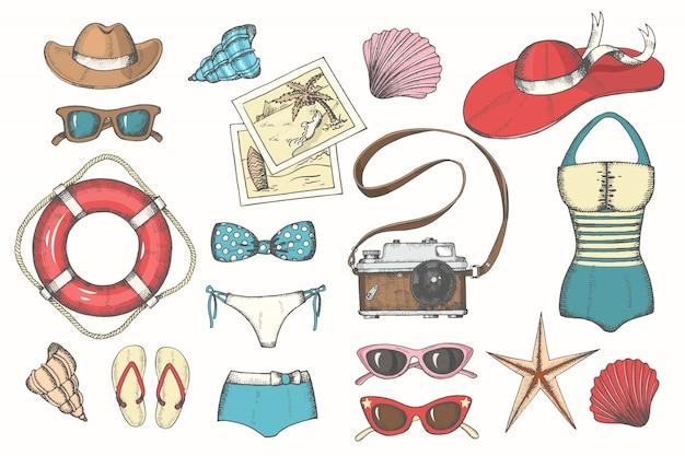 L'annata di estate di vettore ha messo con gli accessori estivi disegnati a mano degli uomini e delle donne di colore Vettore Premium