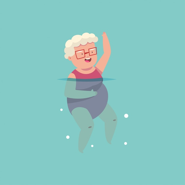 L'anziana che fa l'aerobica dell'acqua si esercita nella piscina Vettore Premium