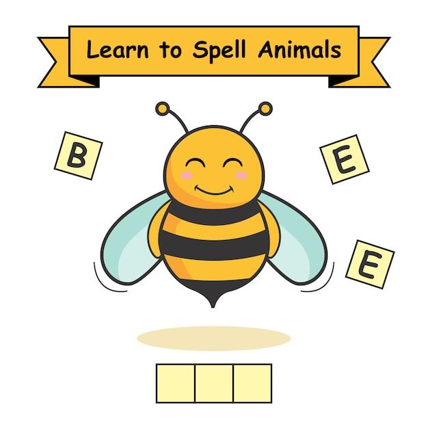 L'ape impara a sillabare gli animali Vettore Premium