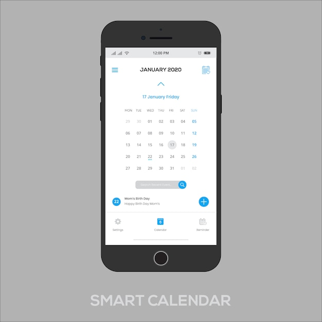 L'app calendario intelligente funziona Vettore Premium