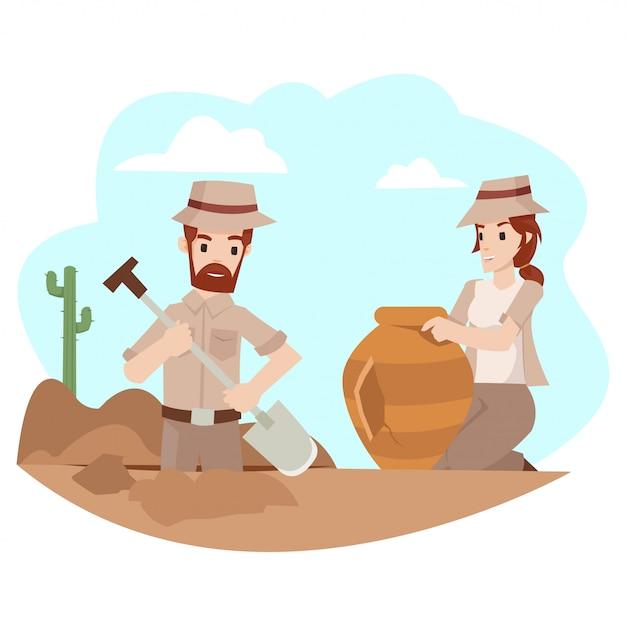 L'archeologo maschio sta scavando il terreno in cui si trova il tesoro Vettore Premium