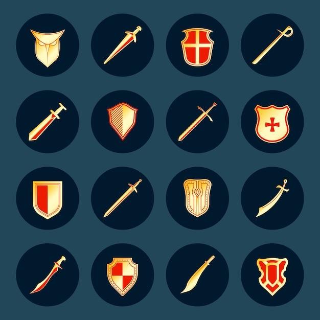 L'arma antica del cavaliere dei militari della spada e gli schermi del guerriero d'acciaio rotondi isolati Vettore gratuito
