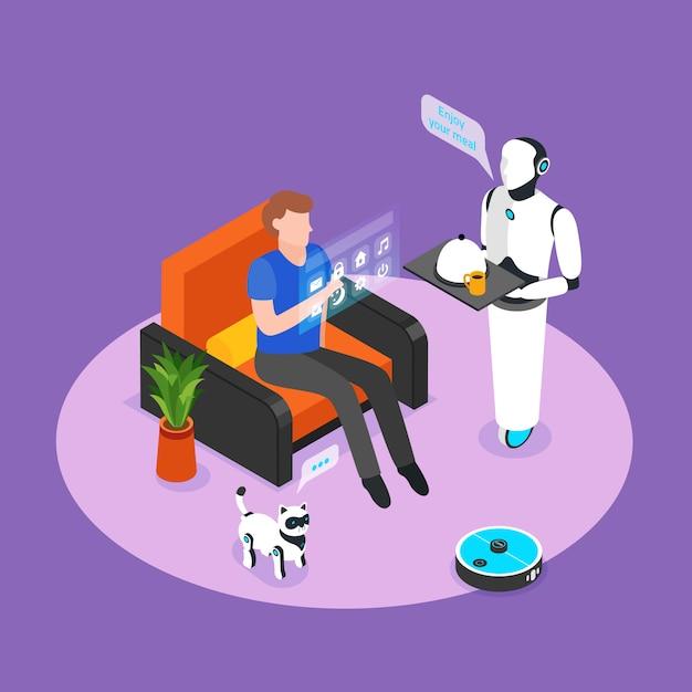 L'assistente robot umanoide controllato con il pannello olografico serve la composizione isometrica nel fondo del pasto del residente domestico astuto Vettore gratuito