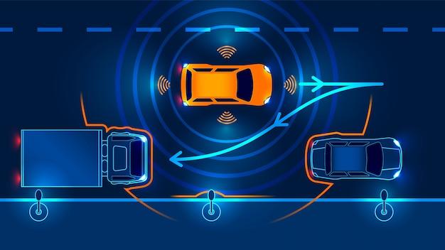 L'auto autonoma lascia il parcheggio Vettore Premium