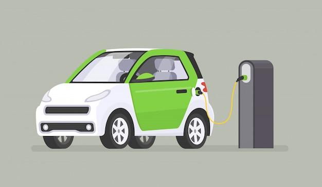 L'auto elettrica viene ricaricata presso la stazione di ricarica Vettore Premium