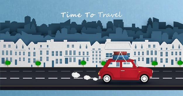 L'auto rossa sta guidando nella capitale e viaggia via dalla città. Vettore Premium