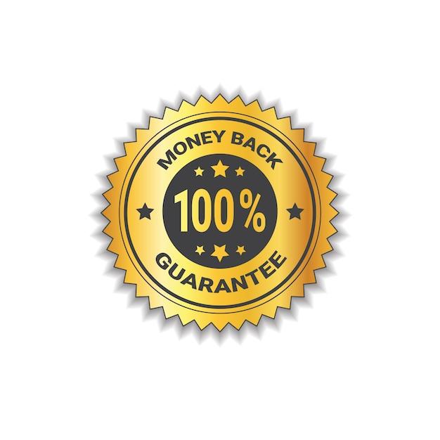 L'autoadesivo dorato indietro con garanzia 100 per cento il contrassegno dell'etichetta ha isolato Vettore Premium