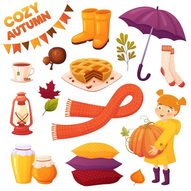L'autunno ha impostato con diversi elementi di cartone animato: ragazza, zucca, torta, vasetti di miele, tè di coppia, ghiande, stivali, ombrello, sciarpa, cuscini, calze e foglie. accumulazione di vettore accogliente Vettore Premium