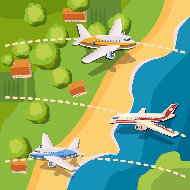 L'aviazione spiana il concetto di vista superiore, stile del fumetto del fondo Vettore Premium