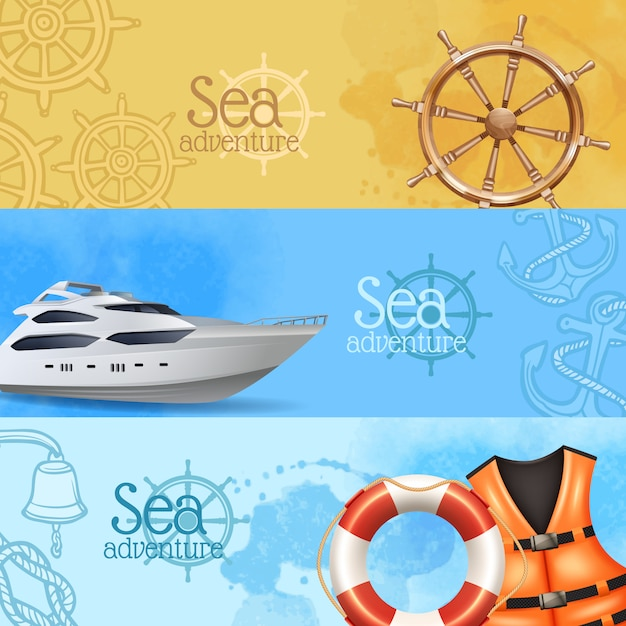 L'avventura e le insegne realistiche orizzontali di viaggio del mare hanno messo con l'yacht ed il timone Vettore gratuito