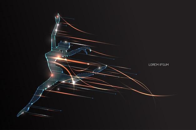L'azione di un essere umano con effetto movimento leggero Vettore Premium