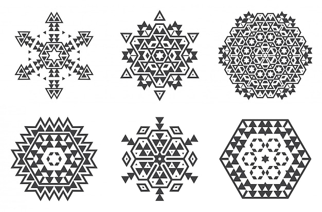 L'ebreo israeliano frattale etnico mandala vector assomiglia a fiocco di neve o maya aztec pattern o fiore Vettore Premium