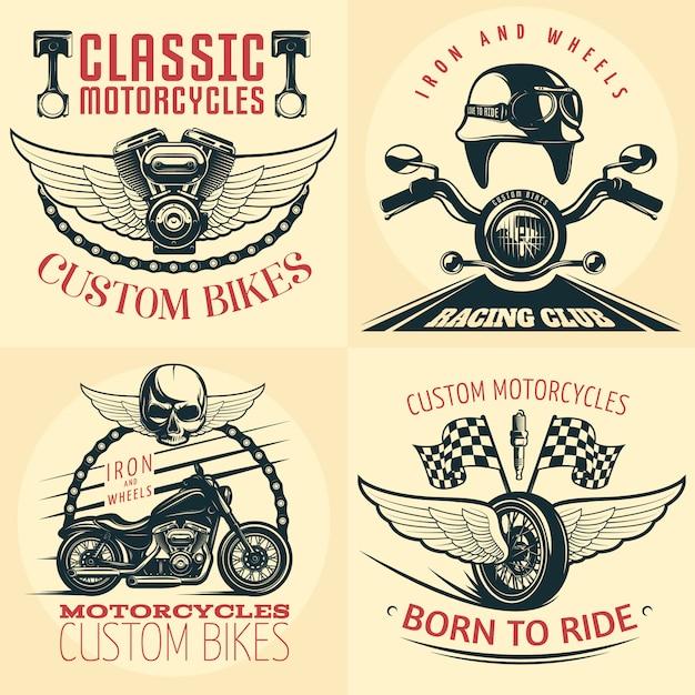 L'emblema dettagliato del motociclo di quattro quadrati ha messo su luce con le descrizioni delle bici su ordinazione nate per guidare e ferro e ruote vector l'illustrazione Vettore gratuito