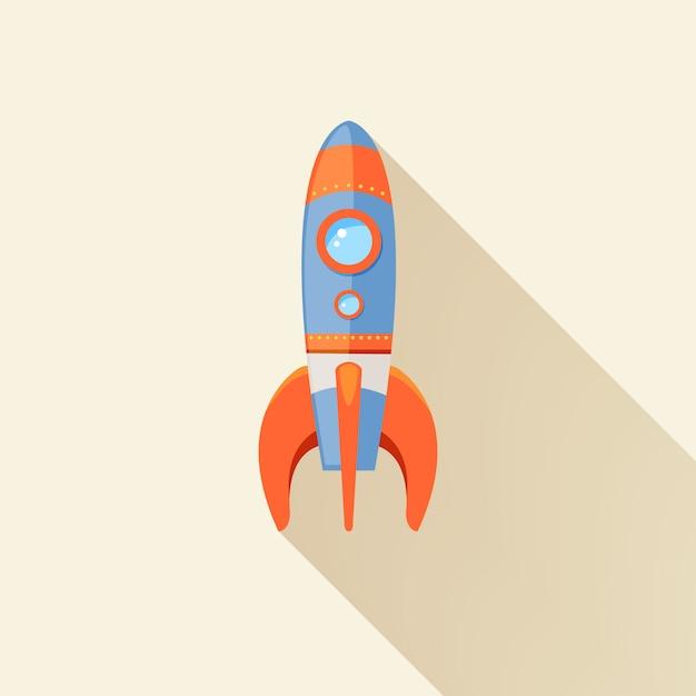 L'emblema futuristico di viaggio del fumetto di inizio della nave del razzo di spazio con le stelle vector l'illustrazione Vettore gratuito