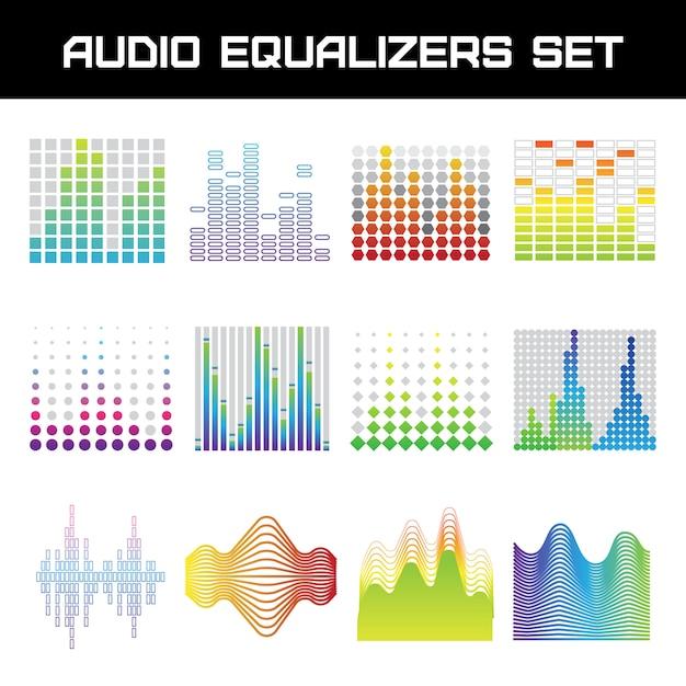 L'equalizzatore audio luminoso ha messo con l'illustrazione di vettore isolata piano di simboli delle onde sonore Vettore gratuito