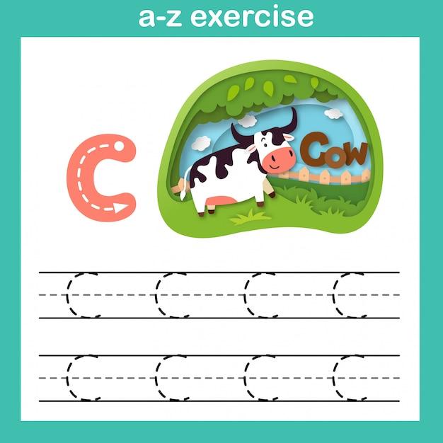 L'esercizio della c-lettera della lettera dell'alfabeto, carta ha tagliato l'illustrazione di vettore di concetto Vettore Premium