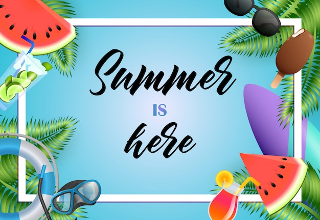 L'estate è qui design di poster luminoso. gelato, maschera subacquea Vettore gratuito