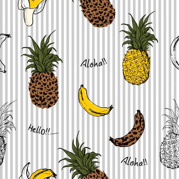 L'estate fruttifica modello senza cuciture di ananas e banane Vettore Premium