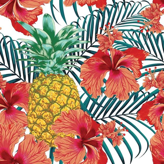 L'estate tropicale del modello senza cuciture con l'ibisco fiorisce il fondo astratto dell'ananas e delle foglie di palma. Vettore Premium