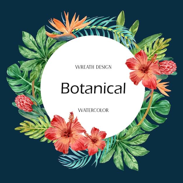L'estate tropicale di turbinio della corona con il fogliame delle piante esotica, acquerello creativo Vettore gratuito