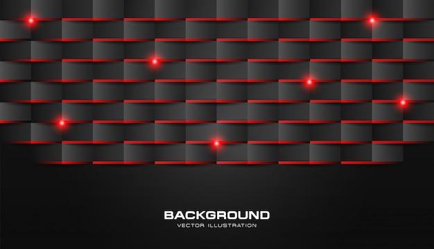 L'estratto 3d piega il nero scuro di lusso del modello geometrico di carta con luce brillante rossa Vettore Premium