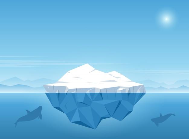 L'iceberg che galleggia nell'oceano blu con la balena nuota sotto l'iceberg. illustrazione vettoriale Vettore Premium