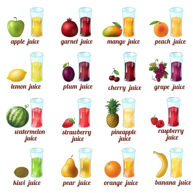 L'icona colorata e isolata del succo di frutta ha messo con la banana dell'arancia dell'uva della ciliegia della pesca della pesca del mango della mela e i succhi differenti Vettore gratuito