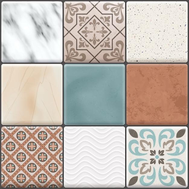 L'icona colorata realistica colorata delle piastrelle per pavimento ha messo i tipi differenti colori e modelli Vettore gratuito
