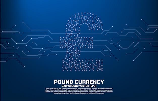L'icona dei soldi di valuta di sterlina di vettore dal punto di stile del circuito collega la linea Vettore Premium