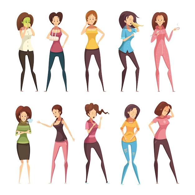 L'icona del fumetto della donna colorata ed isolata della retro della donna ha messo con le donne differenti vector l'illustrazione Vettore gratuito