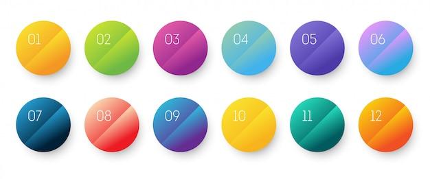 L'icona del gradiente 3d del cerchio ha impostato con il punto elenco di numero da 1 a 12. Vettore Premium