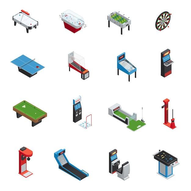 L'icona della macchina del gioco dei giochi da tavolo isometrici colorati ed isolati ha messo per l'illustrazione di vettore del parco di divertimenti e del casinò Vettore gratuito