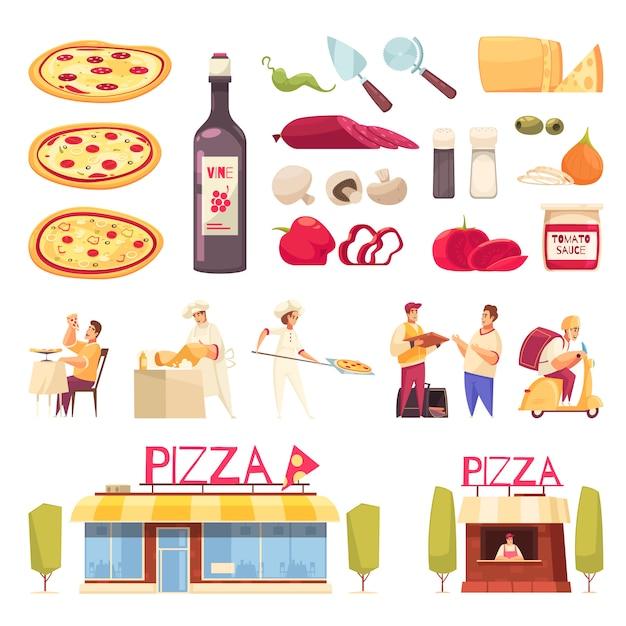 L'icona della pizza ha messo con il prodotto isolato per l'illustrazione di vettore della pizzeria e dei cuochi unici della creazione della pizza Vettore gratuito