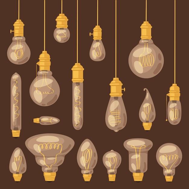 L'icona della soluzione di idea della lampadina della lampadina e l'illustrazione elettrica della lampada di illuminazione hanno messo della luce realistica dell'elettricità su fondo Vettore Premium
