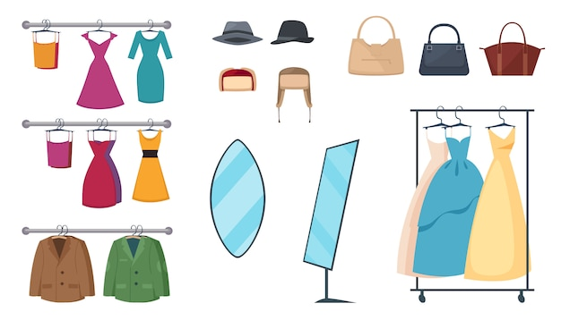 L'icona isolata e colorata dell'abbigliamento ha messo con gli elementi e attribuisce i vestiti sui ganci e sugli accessori Vettore gratuito
