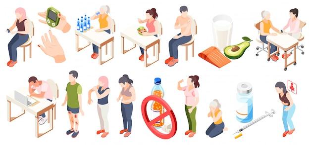 L'icona isometrica del diabete messa con l'illustrazione di vettore di descrizioni della glicemia e di restrizioni del test dietetico di sintomi Vettore gratuito