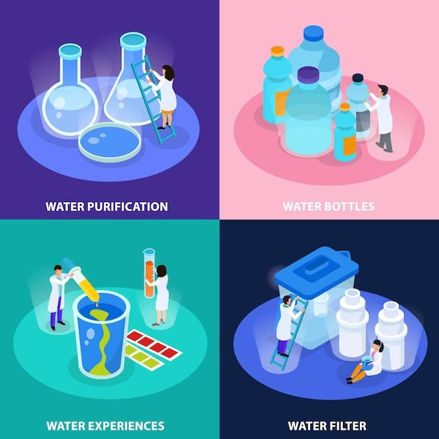 L'icona isometrica di purificazione dell'acqua ha messo con le esperienze delle bottiglie di acqua e l'illustrazione di descrizioni del filtro Vettore gratuito