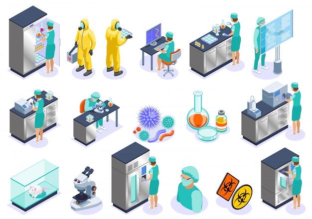 L'icona isometrica isolata microbiologia ha messo con l'illustrazione del laboratorio e del biochimica del microscopio dei datori di lavoro di scienza Vettore gratuito
